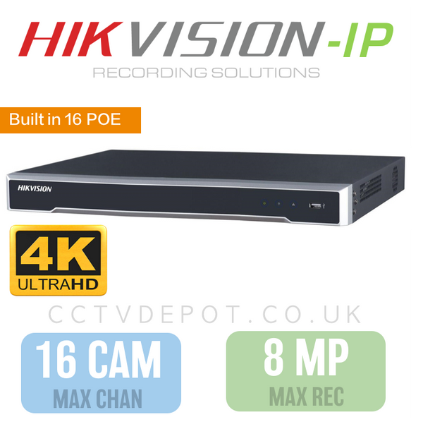 Hikvision PRO 16 Channel NVR with 4K-HD 8MP Compatibility and 16 POE Ports
