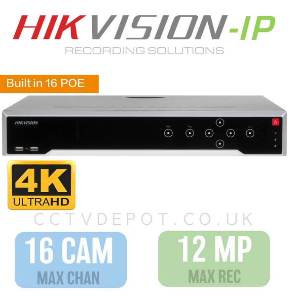 Hikvision PRO 16 Channel NVR with upto 4KHD -12MP- Compatibility and 16 POE Ports