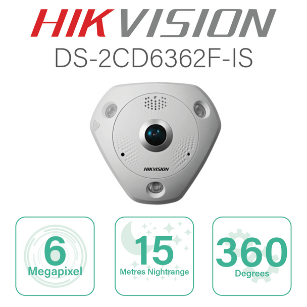 Hikvision Fisheye IP with 6MP and 360 degrees view DS-2CD6362F-IS