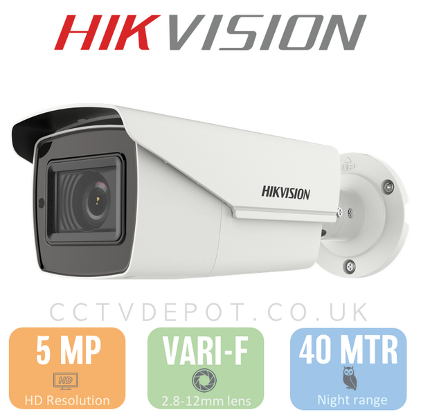 Hikvision HD TVI PRO 5MP Bullet Motorised 2.8-12mm Lens with 40M Night + PoC