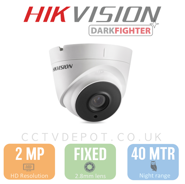 Hikvision HD TVI 2MP Turret Fixed Lens 2.8mm with 40M Night + Darkfighter & PoC