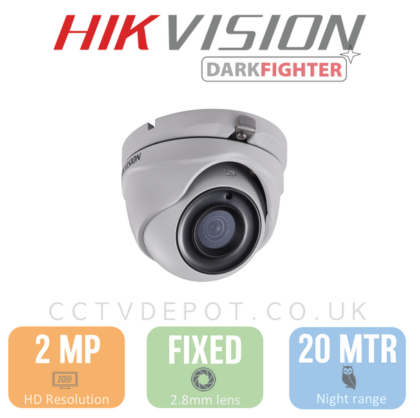 Hikvision HD TVI 2MP Eyeball Fixed Lens 2.8mm with 20M Night + Darkfighter & PoC
