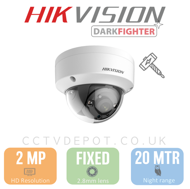 Hikvision HD TVI 2MP Vandal Fixed Lens 2.8mm with 20M Night + Darkfighter & PoC