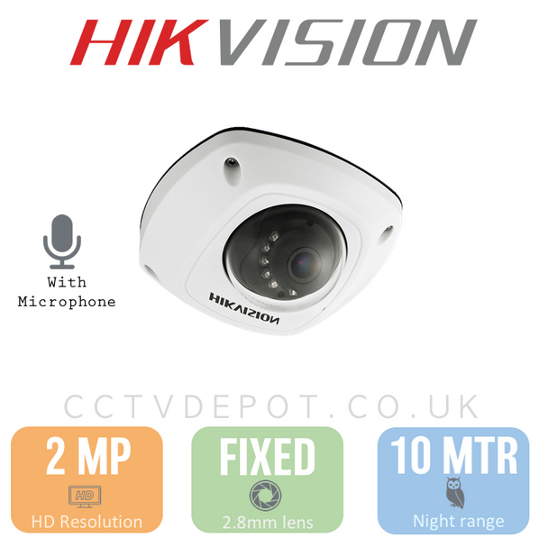 Hikvision HD TVI 2MP Mini Vandal 2.8mm with Darkfighter & MICROPHONE
