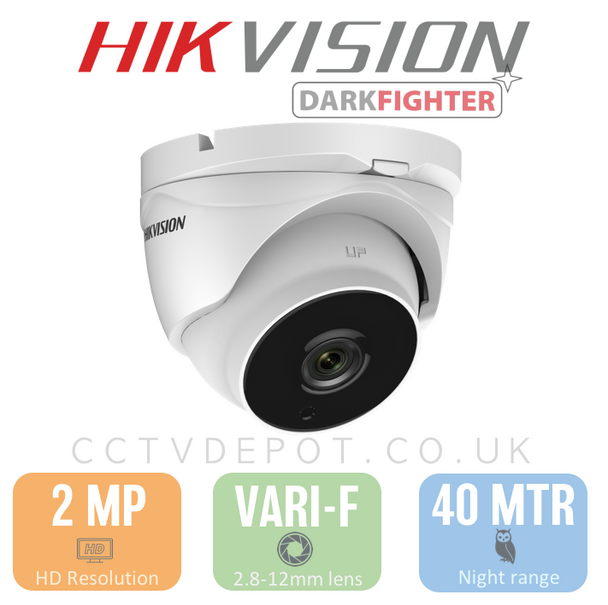 Hikvision HD TVI 2MP Turret Vari-focal 2.8-12mm with 40M Darkfighter and PoC
