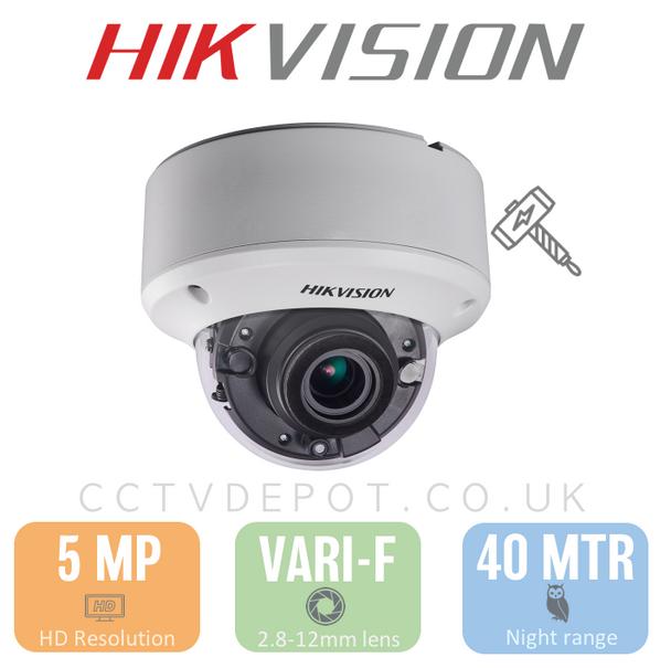 Hikvision HD TVI 5MP Vandal Vari-focal 2.8-12mm with 40M Darkfighter and PoC
