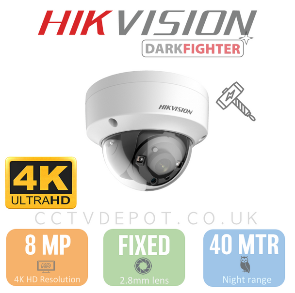 Hikvision TVI 8MP 4K-HD Vandal Fixed Lens 2.8mm with 40M Night