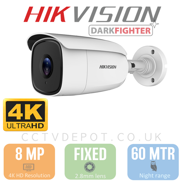 Hikvision TVI 8MP 4K-HD Bullet Fixed Lens 3.6mm with 60M Night