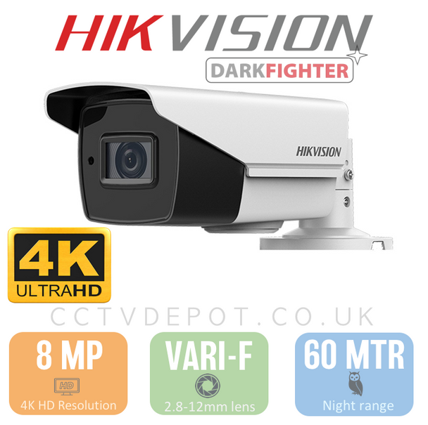 Hikvision TVI 8MP 4K-HD Bullet Vari-focal 2.8-12mm Lens with 60M Night