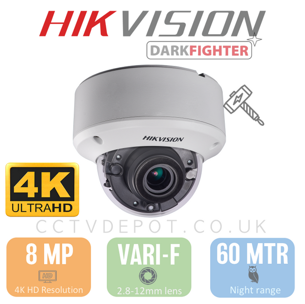 Hikvision TVI 8MP 4K-HD Vandal Dome Vari-focal 2.8-12mm Lens with 60M Night