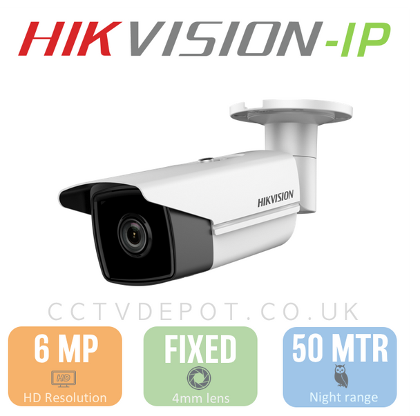 Hikvision IP 6MP Bullet Camera with 4mm Lens, EXIR 30M, POE & Smart VCA