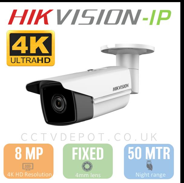 Hikvision IP 8MP 4K HD Bullet with 4mm Lens, EXIR 50M, POE & Smart VCA
