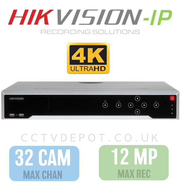 Hikvision PRO 32 Channel NVR with upto 4KHD -12MP- Compatibility (NON-POE)