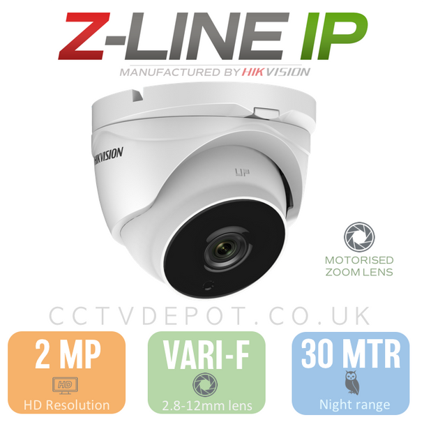 Hikvision PRO Turret with motorised lens 2.8-12mm and POE