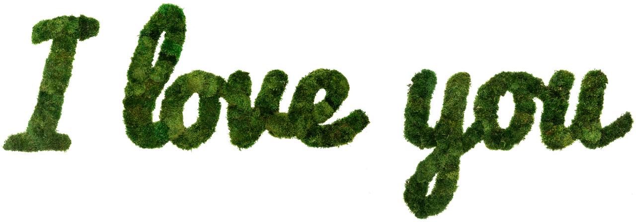 "Moss Sign - ""I Love You"" Cursive (10' W x 3' H)"