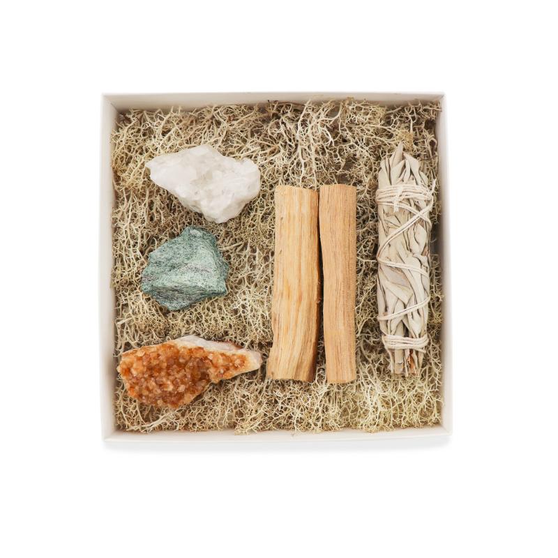 Gift box with Clear Quartz, Fuchsite, Citrine, Palo Santo, and White Sage