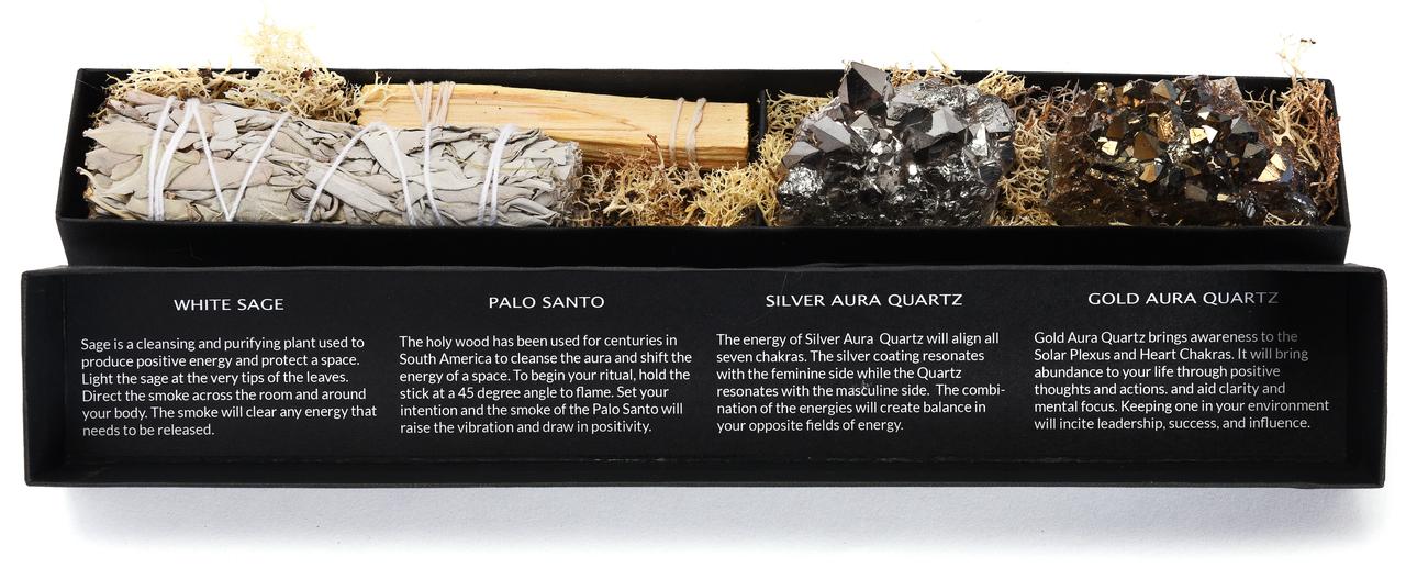 Gift box with SILVER & GOLD AURA QUARTZ