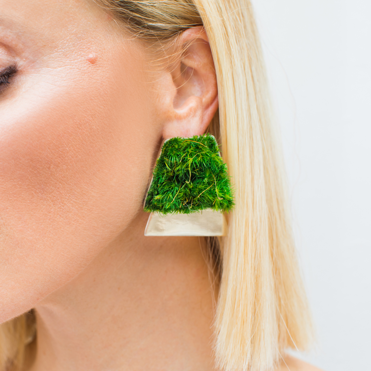 Isabel Englebert + Plant the Future Silver Earrings - Moss Trapezoid Duo MADE TO ORDER