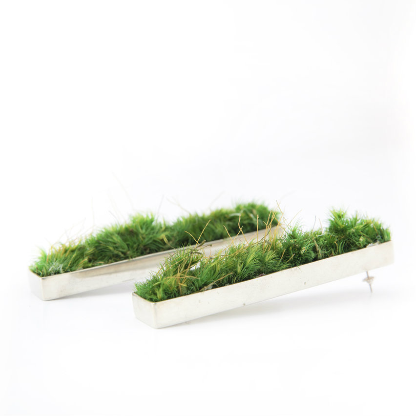 Isabel Englebert + Plant the Future Silver Earrings - Moss Rectangle MADE TO ORDER