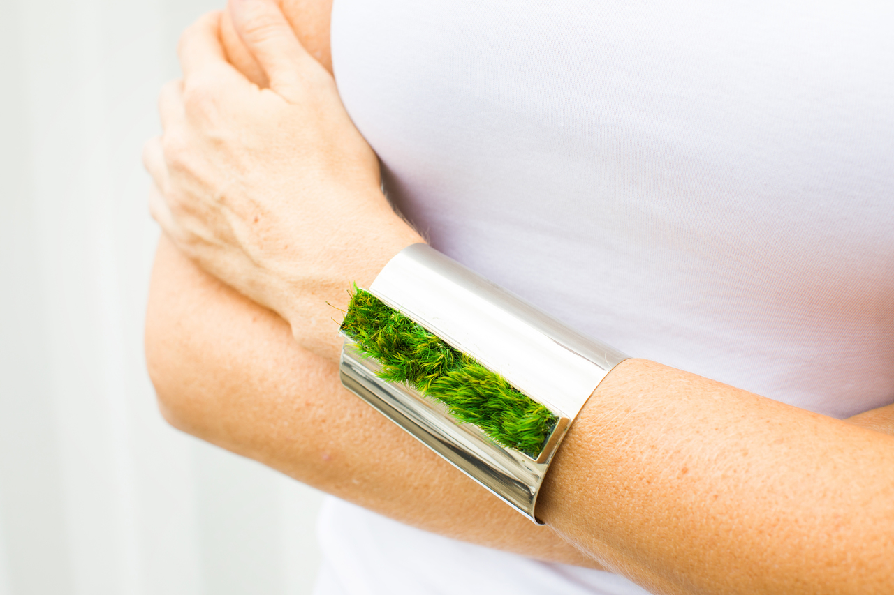 Isabel Englebert + Plant the Future Silver Cuff - Moss Rectangle MADE TO ORDER