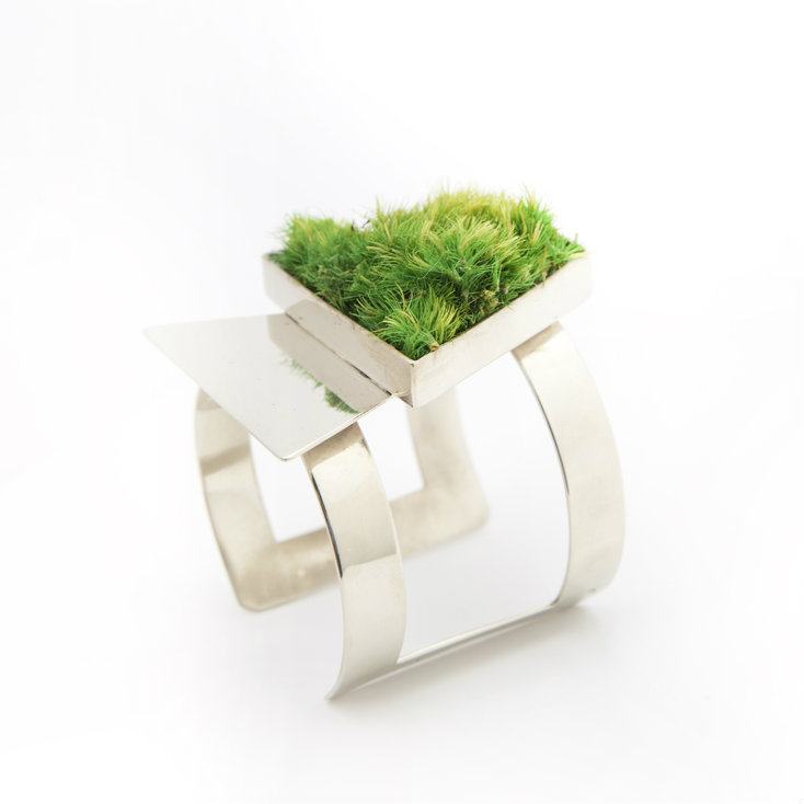 Isabel Englebert + Plant the Future Silver Cuff - Moss Trapezoid Duo