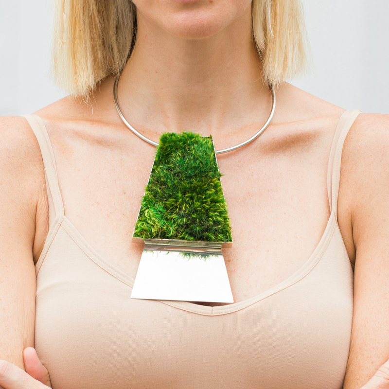 Isabel Englebert + Plant the Future Silver Necklace - Moss Trapezoid Duo MADE TO ORDER