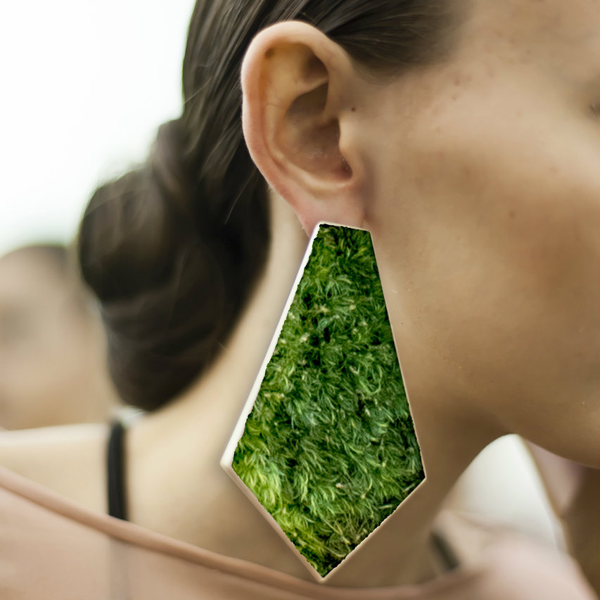 Isabel Englebert + Plant the Future Silver Earrings - Moss Geometry MADE TO ORDER