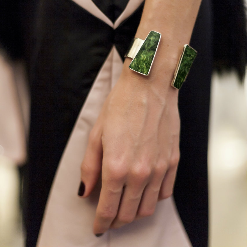 Isabel Englebert + Plant the Future Silver Cuff - Moss Open Trapezoid Pair MADE TO ORDER