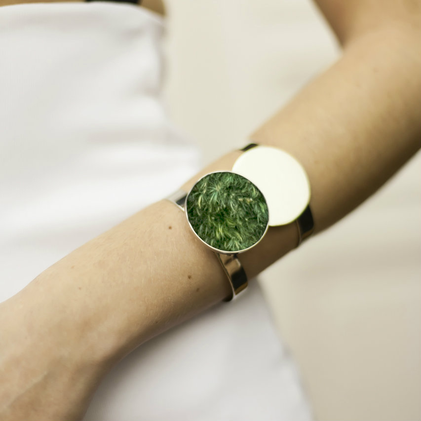 Isabel Englebert + Plant the Future Silver Cuff - Moss Circle Pair  MADE TO ORDER
