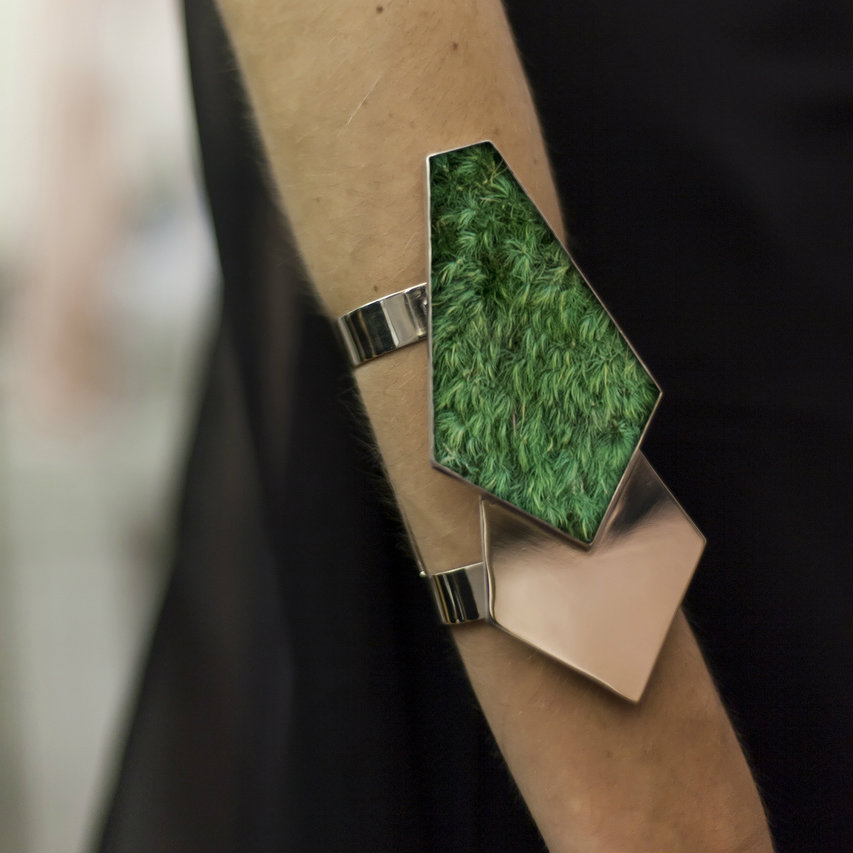 Isabel Englebert + Plant the Future Silver Cuff - Moss Geometry Pair MADE TO ORDER