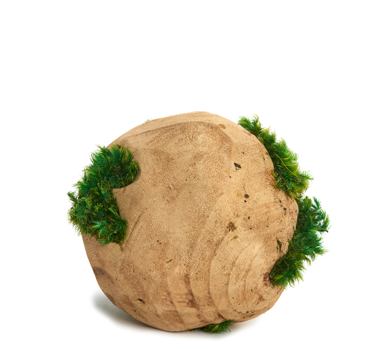 Wood orb with moss centerpiece