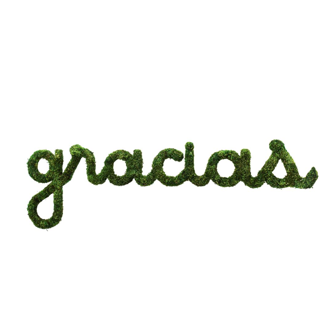"Moss Sign - ""gracias"" cursive (58"" W x 18"" H)"