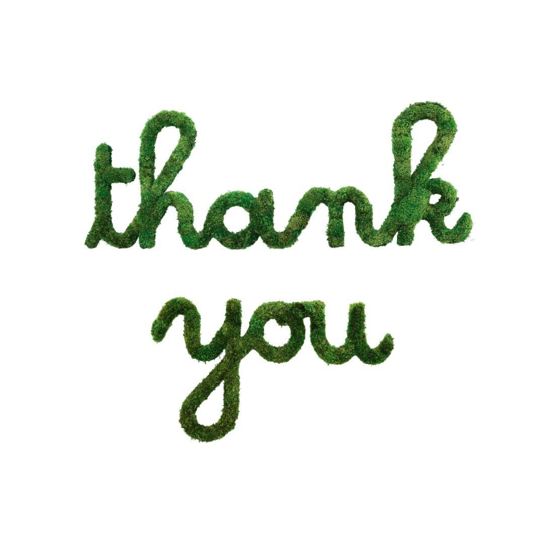 "Moss Sign - ""Thank You"" Cursive"