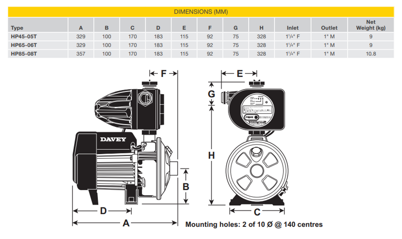 HP45-05T Dimensional Drawing