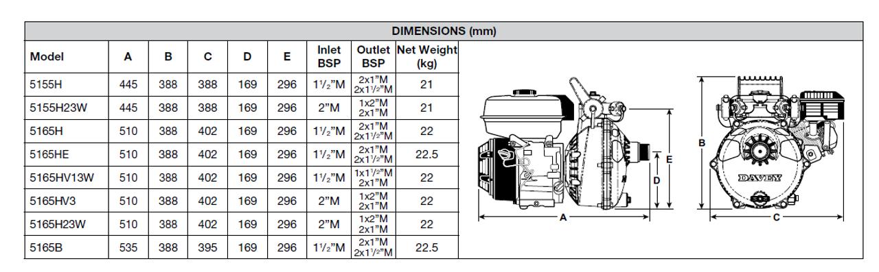 5165H Dimensional Drawing
