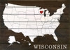 Wholesale Pallet-Style Personalized Sign   US Map with Heart Over State   Option 2 - Heart & State Name (Shown in Walnut Stain with Cottage White & Red)