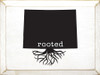 Rooted in Colorado- Wooden Sign shown in Old Cottage White with Black lettering