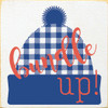 Cute Winter Stocking Hat Sign | Bundle Up! Plaid Stocking Hat | In Old Cottage White with Royal & Coral