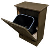 Wood Tilt-Out Trash Bin | Pine Furniture Made in the USA | Sawdust City Trash Bin in open Old Brown
