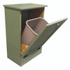 Wood Tilt-Out Trash Bin | Pine Furniture Made in the USA | Sawdust City Trash Bin in open Solid Sage