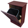 Wood Tilt-Out Trash Bin | Pine Furniture Made in the USA | Sawdust City Trash Bin in open Solid Burgundy
