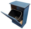 Wood Tilt-Out Trash Bin | Pine Furniture Made in the USA | Sawdust City Trash Bin in open Old Williamsburg Blue