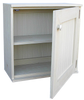 Two separate cabinets stacked and shown in Old Cottage White with doorless option stacked on top of unit with doors.