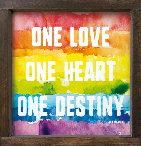 "12""x12"" Framed Sign - One Love. One Heart. One Destiny. - Bob Marley (rainbow)"