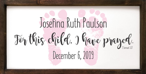 12x24 in. Custom Framed Sign in Old Cottage White, Baby Pink & Charcoal