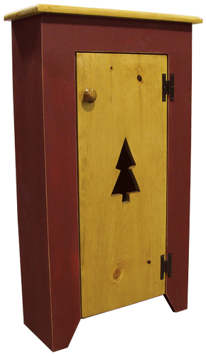 Shown in Old Burgundy with Stain & Poly Top, plus Optional Tall Tree Cutout on Stain & Poly door