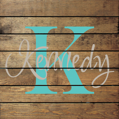 Shown in Walnut Stain with Putty & Aqua lettering