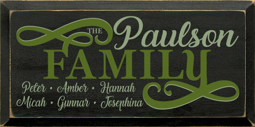 Shown in Old Black with Sage & Moss lettering
