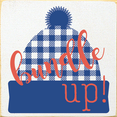 Cute Winter Stocking Hat Sign   Bundle Up! Plaid Stocking Hat   In Old Cottage White with Royal & Coral