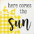 Here Comes The Sun - Plaid Sun Design | Wood Signs With Sayings | Sawdust City Wood Sign In Old Cottage White With Sunflower & Black